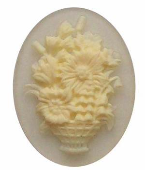 40x30mm Crystal Flower Basket Resin Cameo Cabochon 276x