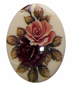 40x30mm Decal Plastic Double Rose Cabachon Cameo 280x