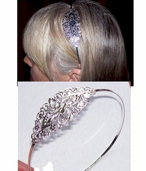 Silver Headband with Filigree Hair Band Finding 298x
