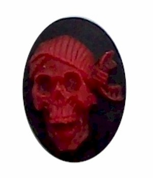 25x18mm Skull Skeleton Red with Bandanna Resin Cameo cabachon 305x