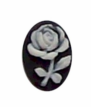 14x10mm black and ivory Rose Resin Cameo 312x