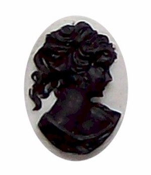 25x18mm Resin Cameo Cabochon Black and White Profile 313x