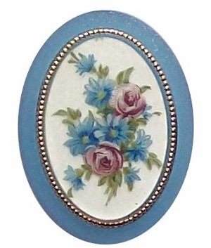 Plastic 40x30mm Blue Flower Mirror Back Cameo 317x