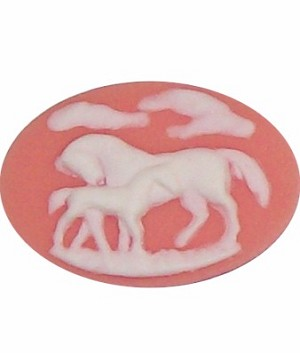 346x resin 40x30 Pink Horse and Colt Cameo