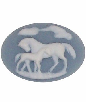 347x resin 40x30 Blue Horse and Colt Cameo