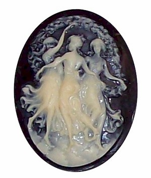Three Graces Dancing Girls Resin Black Ivory Cameo 350x