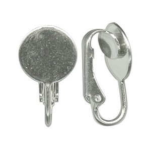 Silver Clip On Earring 10mm flat pad ear clip (pair) 355q