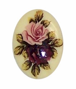 25x18mm Double Rose Decal Cabochon Cameo Plastic  355x