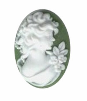 25x18mm resin profile green white cameo of woman 368q