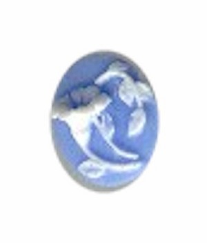 10x8mm Blue and White Trumpet Flower Morning Glory Resin Cameo 37A