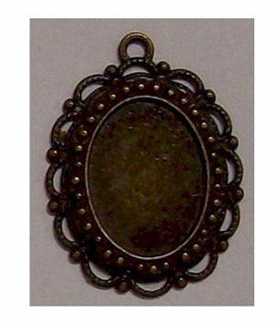 Antiqued Bronze 18x13 Setting with Ring 389x