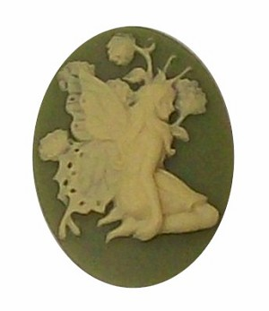Green Ivory 25x18mm resin Fairy Cameo Cabochon 392x