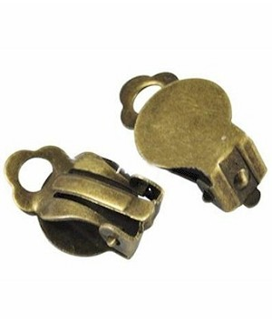Antiqued Brass Ear Clip with Pad  Sold by the pair 394x
