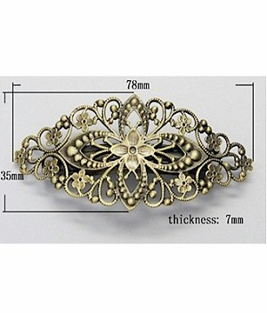Antiqued Filigree Barrette Finding 400x