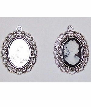 Silver 18x13mm cabochon cameo Pendant Setting with Ring 405x