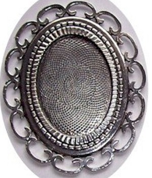 40x30mm Large Silver Filigree cameo cabochon Setting 426x