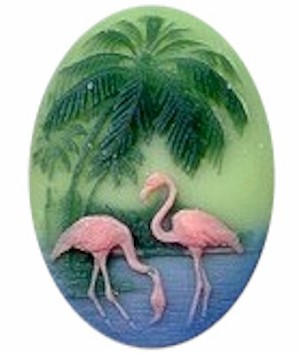 40x30mm resin cameo cabochon with Pink flamingo bird 453R