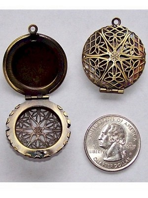 Antiqued Bronze 26mm Aromatherpy Diffuser Perfume Locket 469x