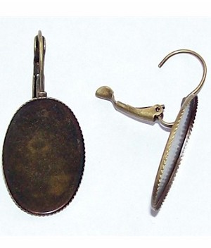 Antique Bronze Lever Clip with 25x18 Bezel sold by the pair 476x