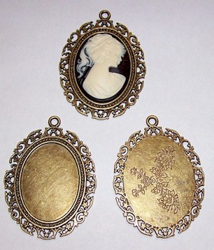 Antique Bronze 40x30mm Cameo Setting with Ring 508x