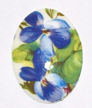 Violets Plastic Decal Stone Cabochon Cameo 30x22mm  527x