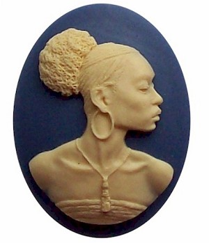 40x30mm African American Black Woman Resin Cameo Blue and Ivory 545x