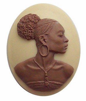 African American 40x30mm Cameo Ethnic Cameo Resin Brown and Crème 548x