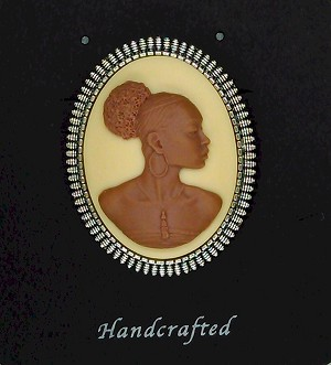 African American Woman Antique Silver Brooch Pin Brown Creme African Jewelry Pin 548x745x