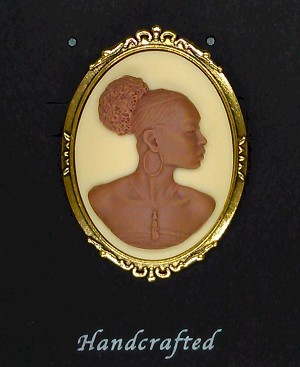 African American Woman Gold Brooch Pin Brown and Ivory African Jewelry Cameo Pin