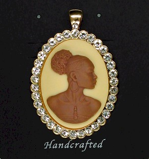 African American Woman Gold Rhinestone Pendant Brown Ivory African Jewelry