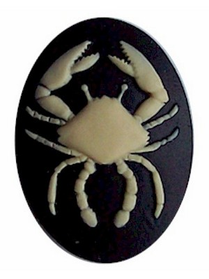 40x30mm Zodiac Cancer Resin Cabochon Cameo Crab Astrological Birth sign Black