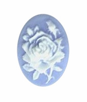 18x13mm Blue Rose Resin Cameo Cabochone 582q