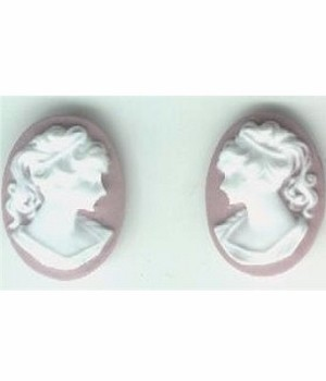 18x13mm lilac and white resin ponytail girl cameo matched pair 584q