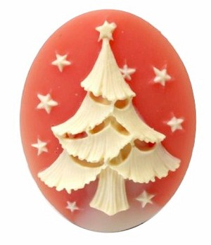 Christmas Tree Resin Cameo 40x30mm Holiday Theme Cabochon Carnelian Ivory 5c