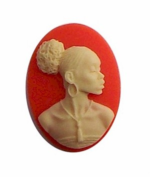 African American Black Woman Resin 25x18 Cameo Carnelian Orange and Ivory 607x