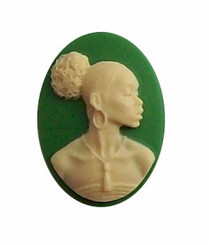 African American Black Woman Resin 25x18 Cameo Green and Ivory 609x