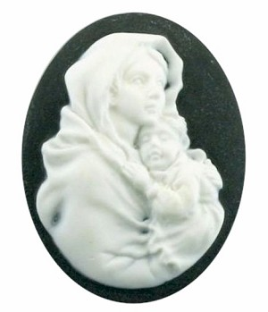 40x30mm Mother Baby Black White Woman Holding Child Resin Cameo 610R