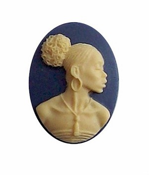 African American Black Woman Resin 25x18 Cameo Blue and Ivory 612x