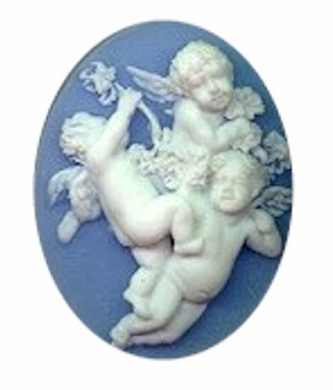 40x30mm cherub blue white resin cameo  religious heavenly heaven 619r