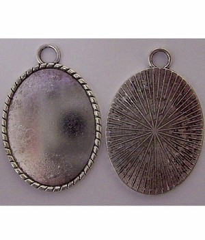 40x30mm Antique Silver Cabochon Pendant Setting with Rings 622x