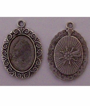 Antique Silver 18x13mm Pendant cabochon Setting with Ring 623x