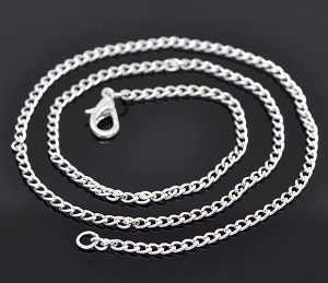 Silver 18 inch Curb Chain Necklace with Lobster Clasp 626x