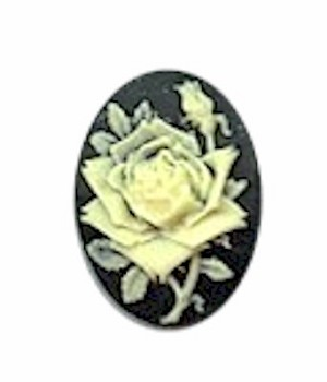 25x18mm black and Ivory  resin rose cameo cabochon 632R