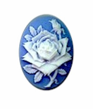25x18mm  Blue White Rose flower resin cameo cabochon 633R