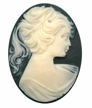 30x22mm Black and WHITE Ponytail Girl Resin Cameo S2052