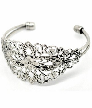 Vintage Style Antique Silver Filigree Cuff Bracelet 637x