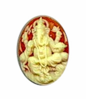 25x18mm  hindu god Carnelian Resin Cameo 644R