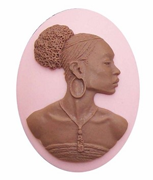 African American 40x30 Cameo Black Lady Resin Cameo Pink and Brown 645x