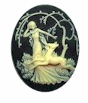 40x30mm Diana the huntress cameo Black Ivory Deer Fawn with Woman Resin Cameo 651R