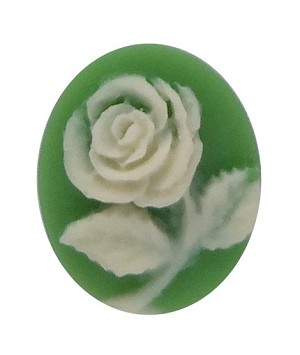 10x8mm Green and Ivory Rose Flower Resin Cameo 678q
